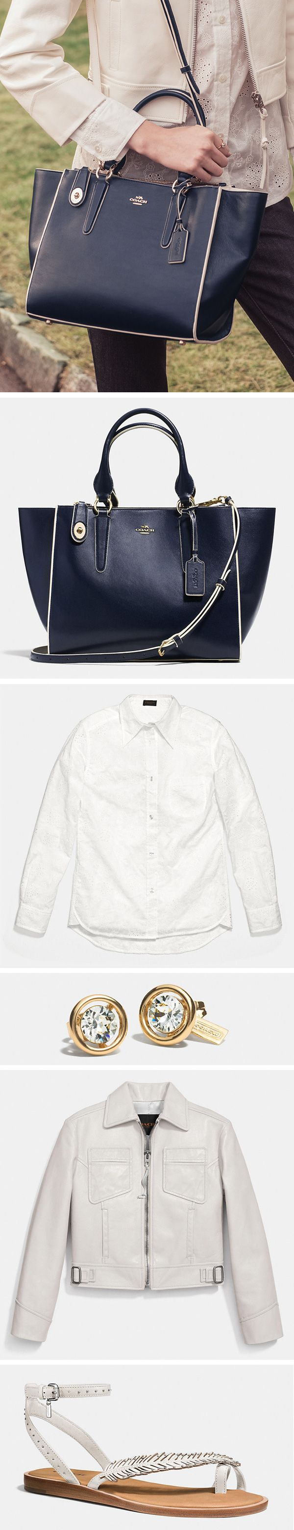 Our spacious navy blue Coach Crosby Carryall is the perfect complement to summer whites.