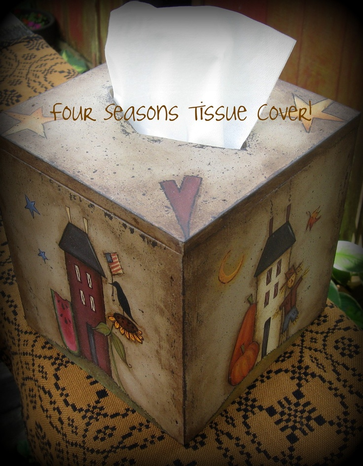 E PATTERN 4 Seasons Tissue Box Cover Design by Terrye by skb007