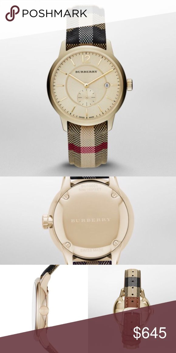 NEW Authentic Burberry Mens Watch Classic New 100% Authentic Burberry Watch Wristwatch   Men's Burberry BU10001 Round Dress Watch Stainless Steel  Case size: 40mm Thickness: 11.85mm Band Width: 20mm Water Resistance: 50M Origin: Swiss made Closure: Strap Buckle  Inspired by the timeless elegance of London, The Classic Round shares the same values, which is timeless design, steeped in heritage. The watch captures the wearers rich story of yesterday, today and tomorrow.  @alexambrands aLexam…