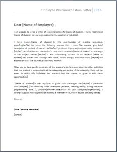 employment letter of reference