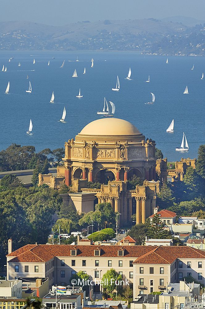 Palace Of Fine Arts With Sailboats In The Background, San Francisco By Mitchell Funk www.mitchellfunk.com