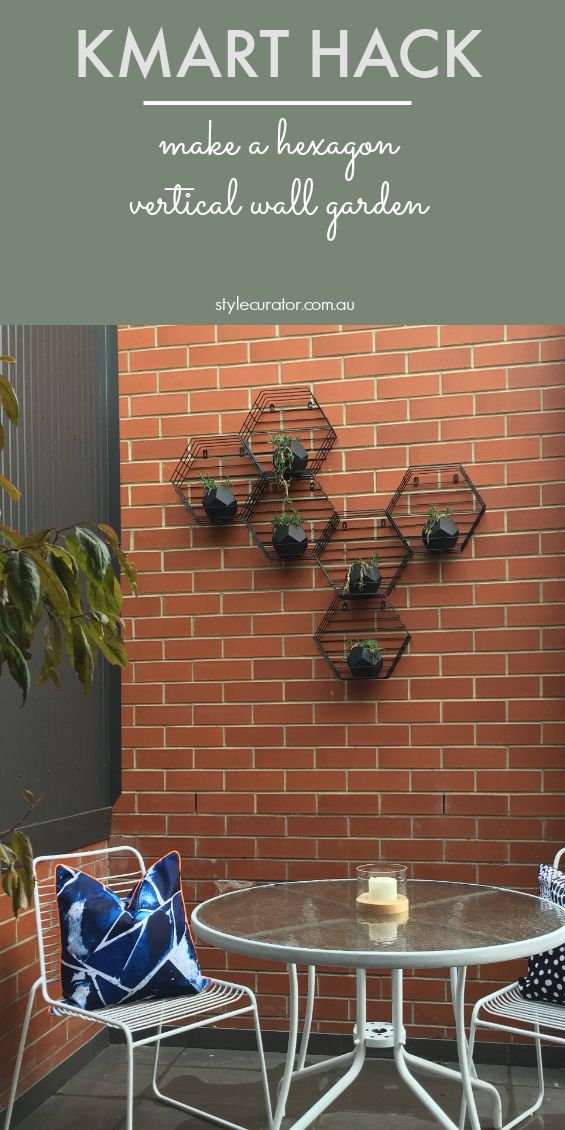 Inexpensive outdoor wall art and vertical garden in one! See how we made this Kmart hack using hexagon pot plant holders. All the steps and photos can be found by clicking on the image above.