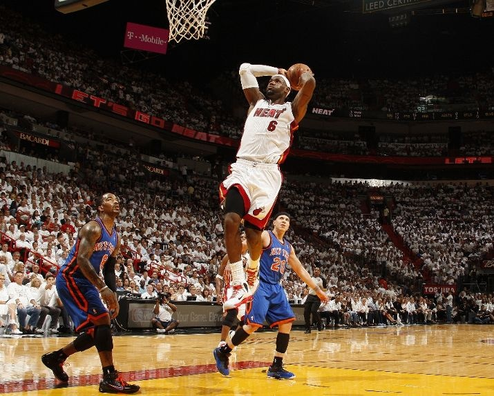 Lebron Taking it to the rim vs the  Knicks Game 2 courtesy of ESPN