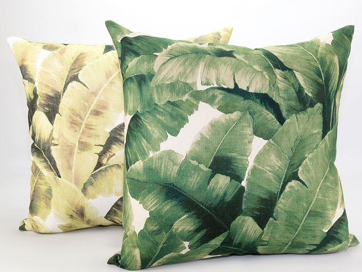 Tropical Leaf cushions in emerald and moss green.  Add a touch of the tropics with this fresh and inviting leaf print cushion.  Pair this fabulous print with black and white for a contemporary look or mix these leafy patterns with velvet, polished metals and bright colors. An eye-catching design to liven up any living space or bedroom.  Woven linen cloth print fabric with a plain canvas backing.
