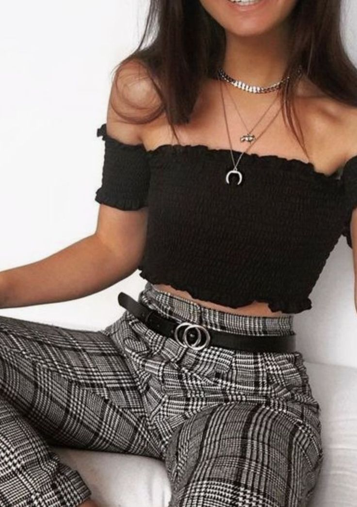 Patterned pants and simple off the shoulder black top