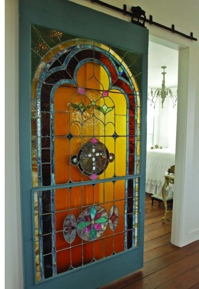 Interior Stained Glass Barn Door Decor Ideas Glass