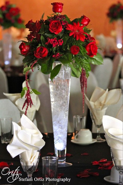 Centerpiece Make Of Plastic Stand With Light At The Bottom Cellophane Inside Vase With Water