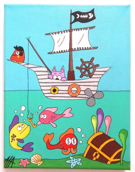 Tableau rigolo pour enfant illustration originale d 39 un - Decoration pirate chambre bebe ...