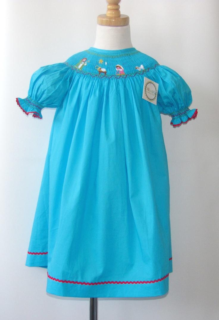 Blue christmas dress 4t - Smocked Christmas Dresses For Girls Baby Girl Toddler Nativity Scene Dress Baby Girl Smocked Dress From Szs 6m 2t 3t