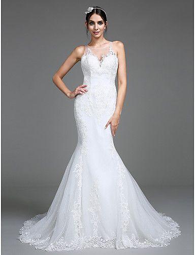 Lanting Bride® Trompette / Sirène Robe de Mariage Traîne Chapelle Bijoux Tulle avec Appliques / Bouton de 5168002 2016 à €244.99