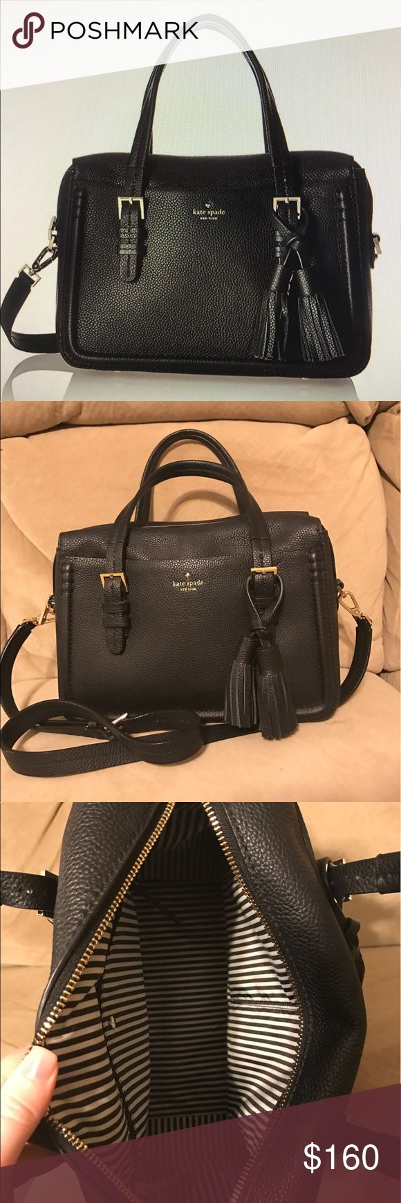 Kate Spade black pebbled leather bag Only used for a short time. Very good condition. I couldn't find any stains or anything. Good size with lots of room. kate spade Bags Crossbody Bags