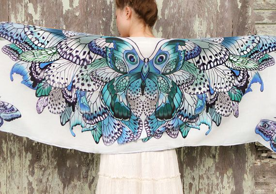 Women scarf, Hand painted Butterflies in Blue Aqua tones, stunning unique and useful, perfect gift. $56,00, via Etsy.