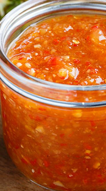 Pineapple Sweet Chili Sauce. I've never used the recipe this link leads to, but I made one on the stove top...pineapple sauce, brown sugar, cornstarch