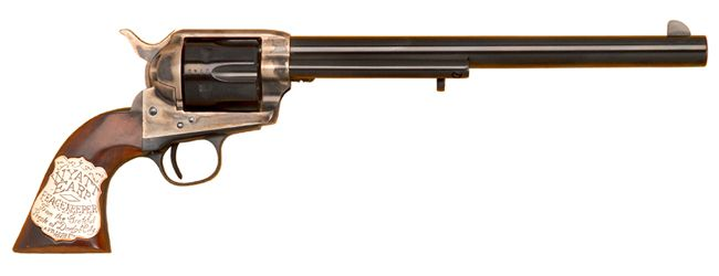 Wyatt Earp's Colt revolver .45 cal. According to a novel in 1931 Wyatt Earp used it at the OK corral. Fact is he used an 8 in. Barrel Smith and Wesson .44