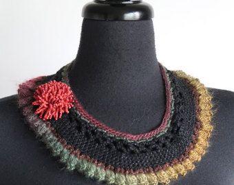 Zwart groen kaki bruine mosterd Berry oranje koraal kleur verklaring gehaakte kraag ketting Choker slabbetje met kraal bloem broche