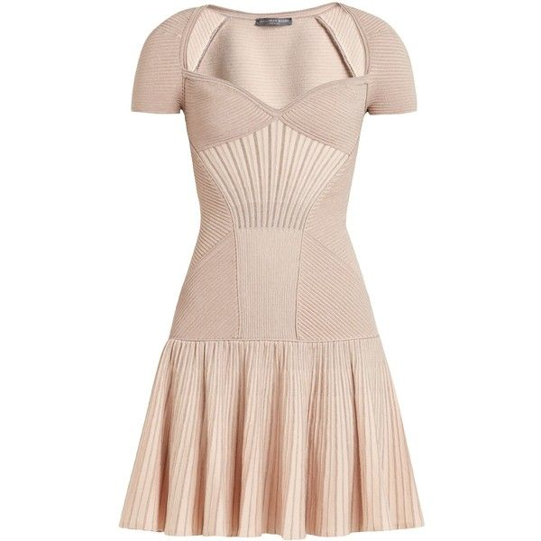 Alexander McQueen Sweetheart-neck short-sleeved wool-blend dress ($1,895) ❤ liked on Polyvore featuring dresses, pink, circle skirt, sweetheart neckline dress, pink skater skirt, alexander mcqueen dresses and antique dresses