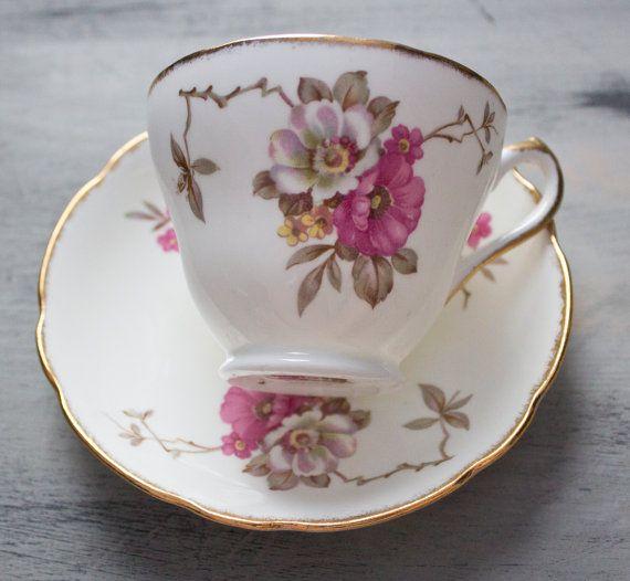 English Castle Bone China Vintage Teacup by FragrantLavenderHome