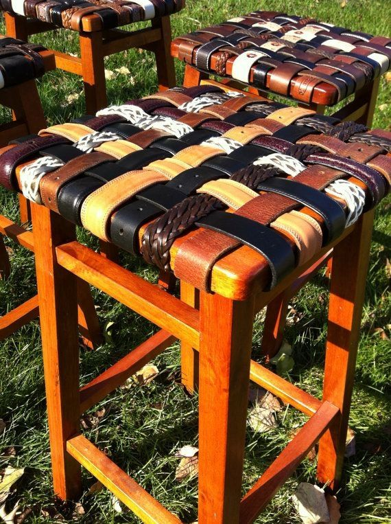 Bar Stools - cool way to use old belts by rosella