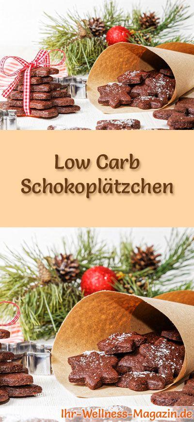 Low-Carb-Weihnachtsgebäck-Rezept für Schokoplätzchen: Kohlenhydratarme, kalorienreduzierte Weihnachtskekse - ohne Getreidemehl und Zucker gebacken ... #lowcarb #backen #weihnachten