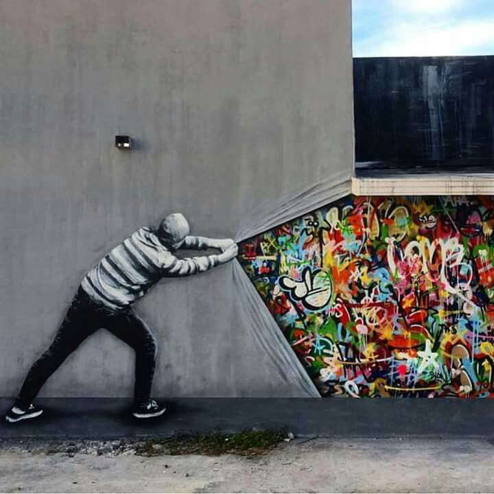 Graffiti / street art , Urban art .. lets just call it ART.. https://www.etsy.com/shop/urbanNYCdesigns?ref=hdr_shop_menu - I really like this piece of art because it has a lot of meaning behind it. It shows a blank wall that is being torn apart and behind