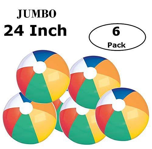 Fun Land 24 Inch Pack Of 6 Jumbo Colorful Beach Balls Rainbow