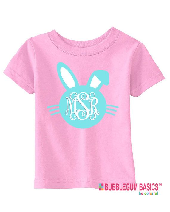 Personalized Girls Or Boys Easter Bunny Monogram T Shirt