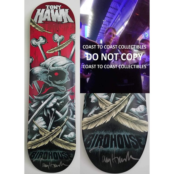 Tony Hawk, Signed, Autographed, Birdhouse Skateboard Deck, A COA with the Exact Proof Photo of Tony Signing Will Be Included,,