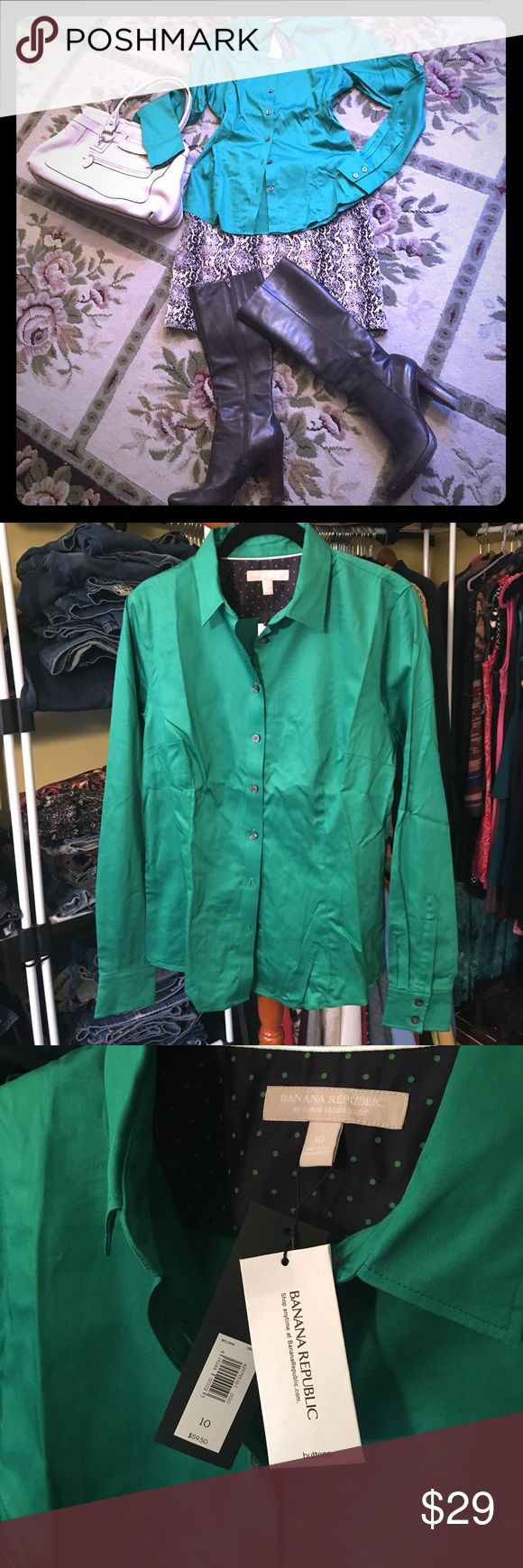 """🆕 Banana Republic Blouse BNWT Banana Republic no-iron tailored blouse. Super stretch. Gorgeous Kelly green. 19"""" pit to pit. 25"""" shoulder to hem. Free People skirt, Charles by Charles David boots, and Talbots purse sold separately. Banana Republic Tops Button Down Shirts"""