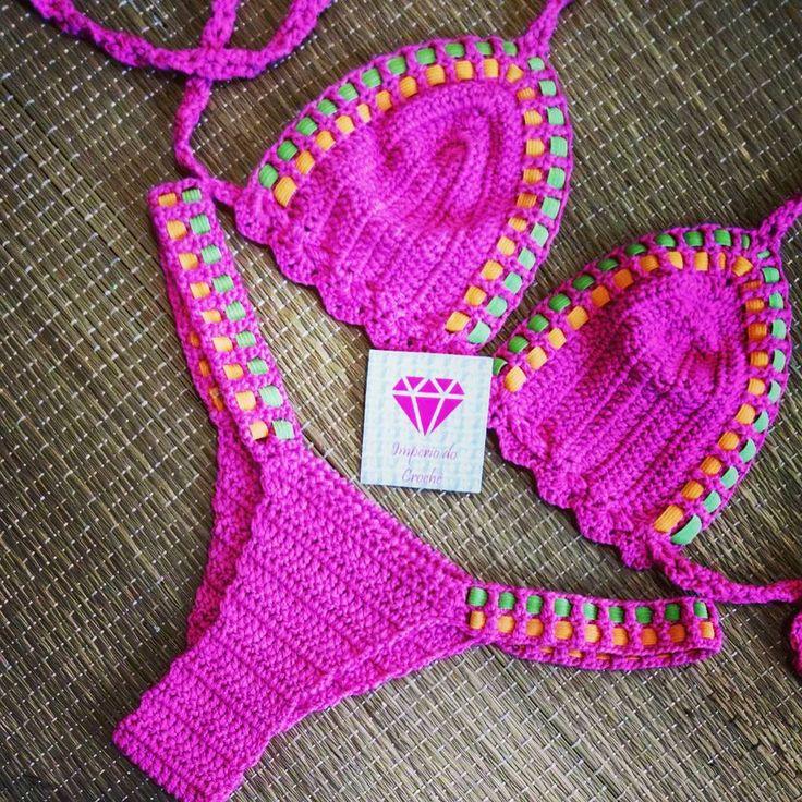 Biquíni bailarina fio dental pink  R$99,90 TAM. 38 ao 42 Pink ,coral e limão 21 97945-9852  PRONTAA ENTREGAAAA PS. Foco na parte de trás da tanga fio dental #hademade #biquinicroche #summer2016 #verao2016