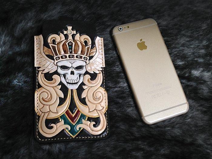 crown Skull iphone 6 sleeve wallet case genuine leather handmade H13 #Handmade