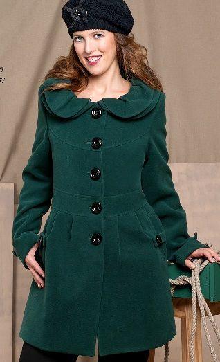 Abrigo Verde Botella Cuello Decorativo tallas grandes de la 46 a la 66    CA317