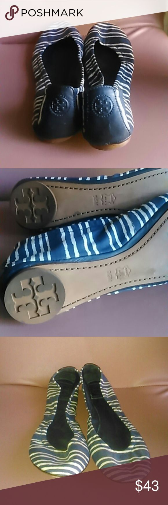 Tory Burch 9.5 flats blue striped ballet shoes Leather & canvas, pre-owned, no defects. Tory Burch  Shoes Flats & Loafers