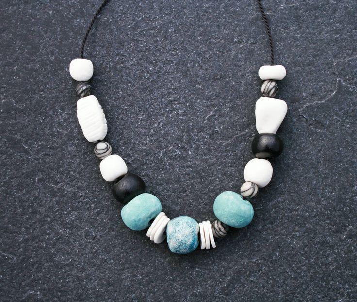 Blue Planets ceramic beaded necklace/ handmade white and blue porcelain /Raku crackle/ spider Jasper/ stylish/ neutral/ modern ethnic/ OOAK by CopperLarkStudio on Etsy