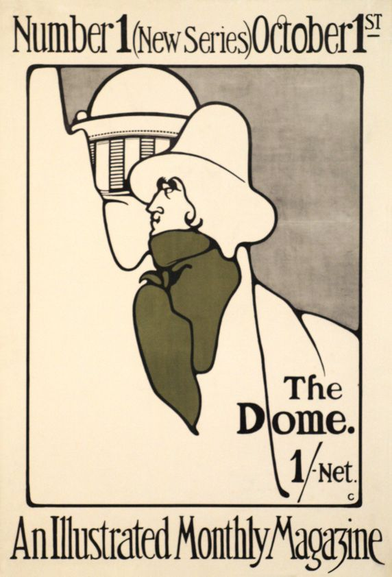 "1898 The Dome, An illustrated monthly magazine, Number 1 , Gordon Craig was a member of the Beggarstaff Brothers circle in London, and this poster is clearly inspired by them. The actor Henry Irving is theatrically wrapped in an olive scarf suggesting that the Dome will be a "" magazine on celebrities, UK"