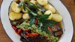 Slow roasted lamb shoulder with mint pesto