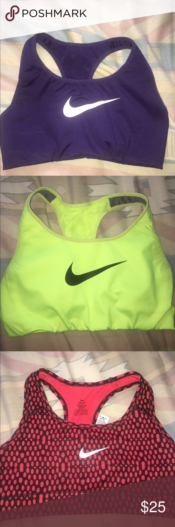 3 NIKE SPORTS BRAS 3 nike sports bras XS, barely worn no damage, purple and yellow ones are high impact and the red polka dot one is regular impact, make an offer:) Nike Intimates & Sleepwear Bras