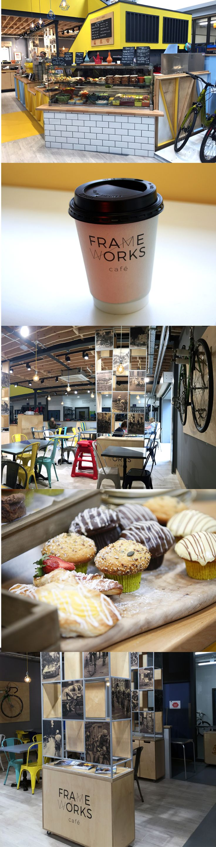 The Frameworks Café brand and interior was created by Exhibit Design for the café in Kay's Cycle Superstore, Tallaght. While creating the logo, brand and interior we were strongly influenced by geometric shapes, modular structures and bicycle parts. As part of the design process we looked at existing bicycle cafés and related industries.