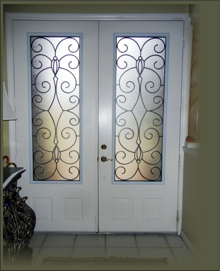 Doors Design: 3/4 Look Wrought Iron In A Double 8 Ft Front Door. White