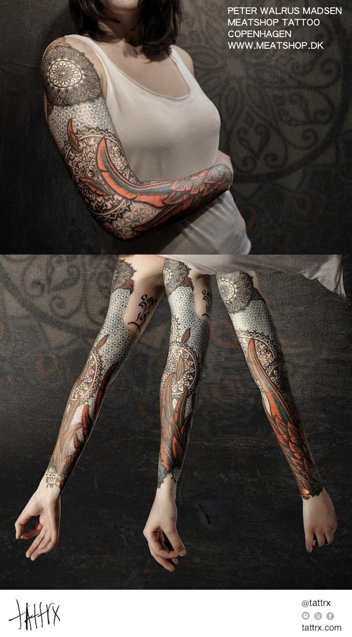 "tattrx: "" Peter Madsen (Meatshop Tattoo) - Sacred Geometry Sleeve tattrx.com/artists/peter-walrus-madsen tumblr: meatshoptattoo """