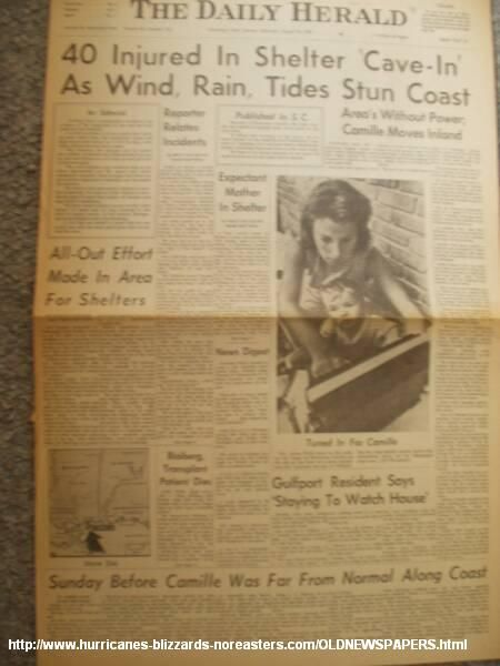 "hurricane camille 1969 photos | The Daily Herald , Hurricane Camille 1969. Headline ""40 Injured In ..."