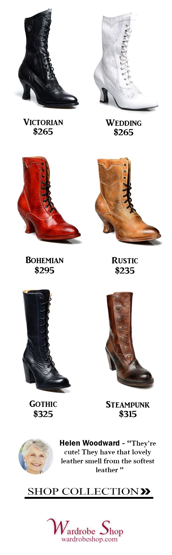 Victorian Boots | Traditional Wedding Boots | Steampunk | Rustic | Country | Western | Bohemian | Vintage | Gothic | Bohemian | Oak Tree Farms