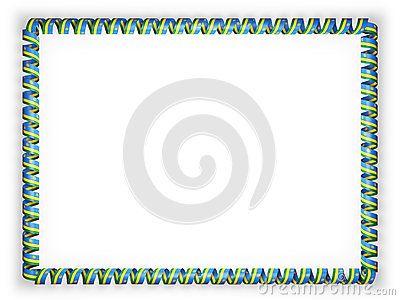 Frame and border of ribbon with the Rwanda flag. 3d illustration.