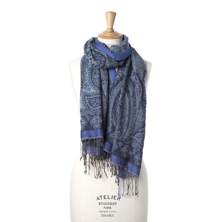 Blauwe sjaal met paisley- en luipaardprint | Veritas