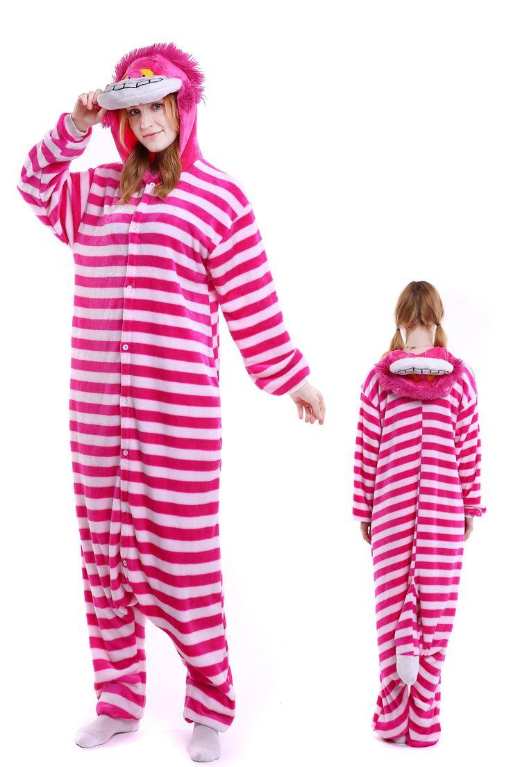 Cheshire Cat Kigurumi Onesie Pajamas Soft Flannel Unisex Animal Costumes