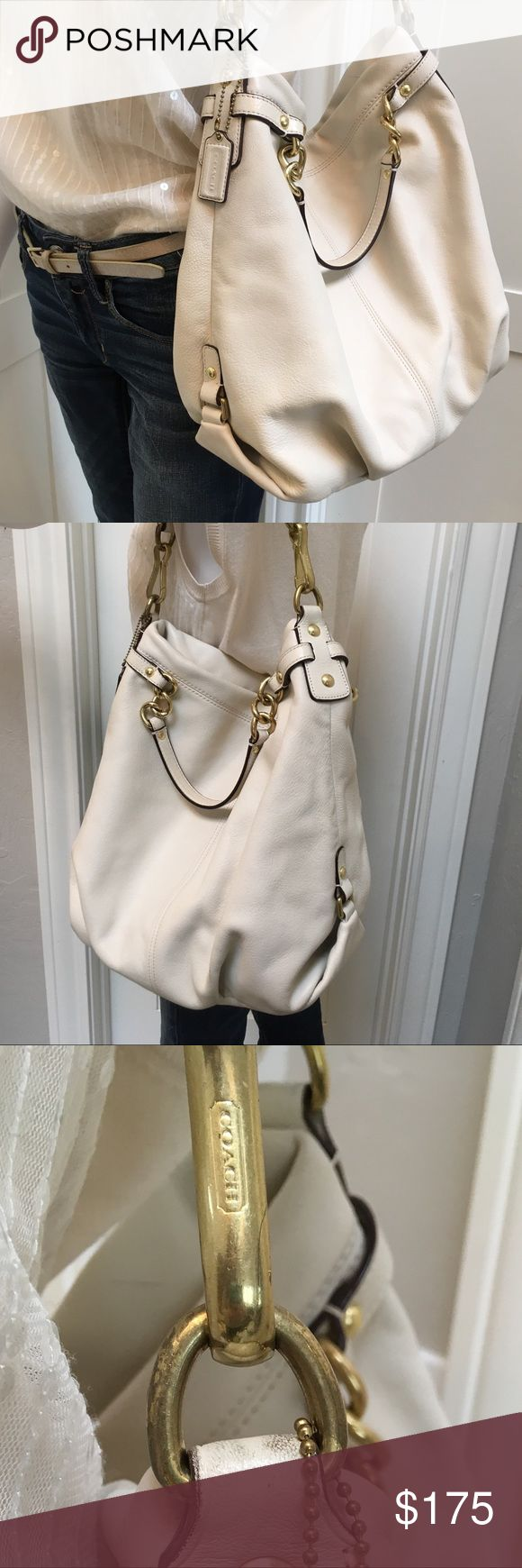Coach White Leather Shoulder Bag Beautiful neutral bag. Coordinates well with spring summer and winter whites. Well cared for with some mild signs of wear. Please see pics carefully and ask questions. Thank you for looking! 😘  BTW - This is carefully stored, but I no longer have the dust bag :(. Coach Bags