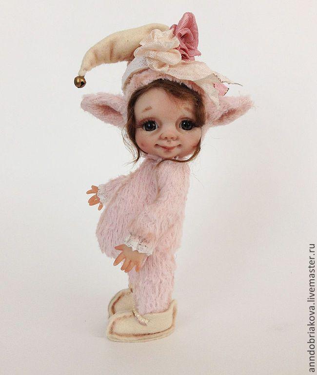 Купить Эльфочка Мелиан (тедди-долл) - бледно-розовый, розовый, персиковый, бежевый, тедди-долл