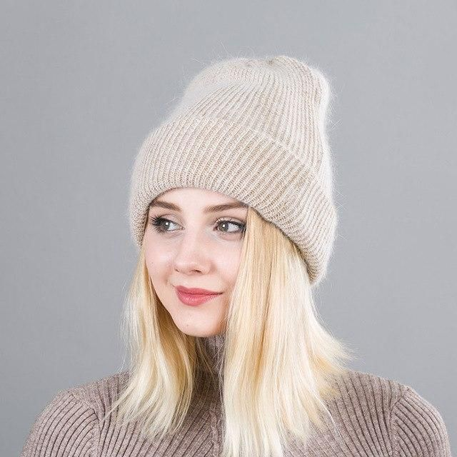 d28e1c6b6dbd43 Winter Rabbit Cashmere Knitted Hat Women Double layer Thick Warm Beanie  Skullies hat Female double knitting