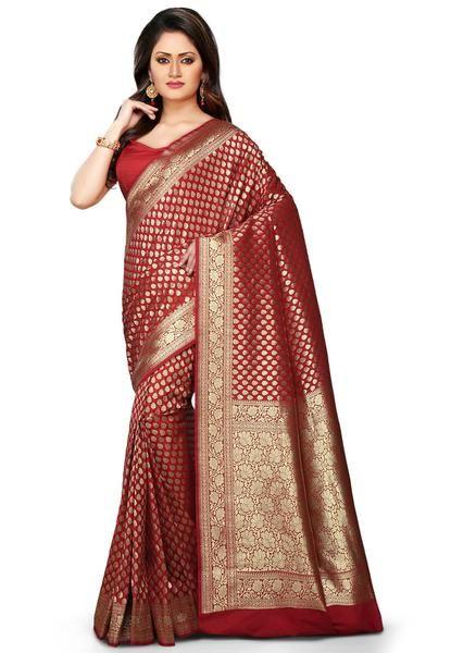 Designer Banarasi Handloom Red Color Banarasi Art Silk Saree For Women