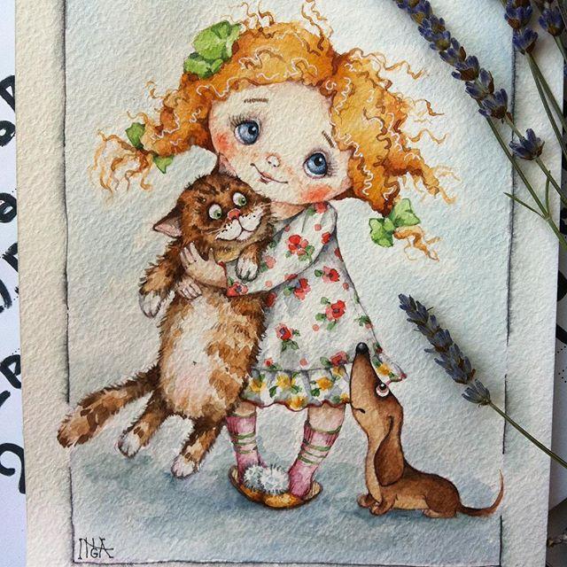 Помогаем мне с названием! Мне кроме примитивного - девочка с котом и таксой, не приходит в голову. Наверно голова не генерирует слова , а только образы #рисуюназаказ #иллюстрация #кот #такса #watercolor