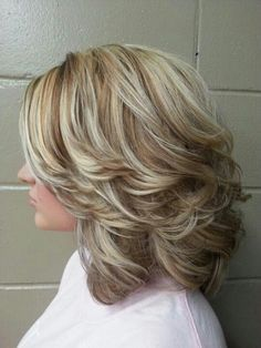 Shoulder length style with layers and highlights